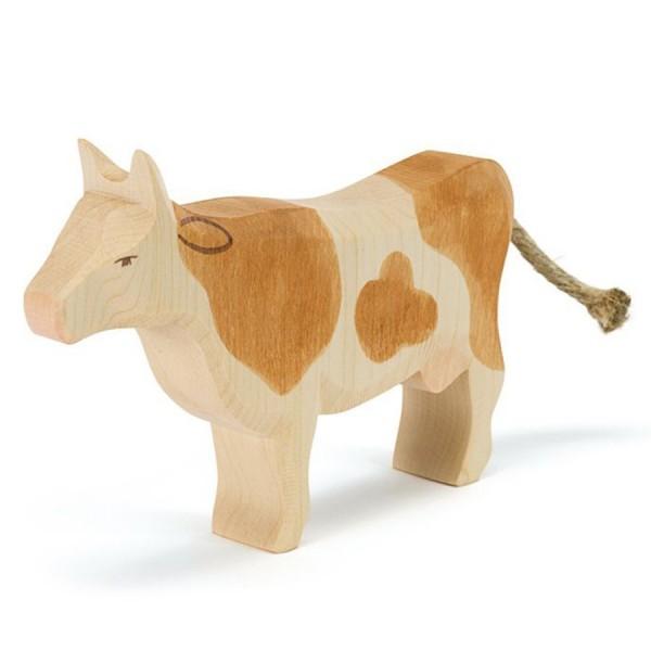 Kuh braun Holzfigur stehend 11,5 cm hoch