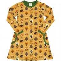 Kleid mit Taschen langarm elastisch Wald Tiere in gelb