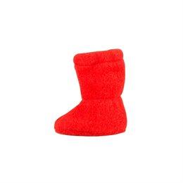 Orange-rote dicke Babyschuhe als Socken