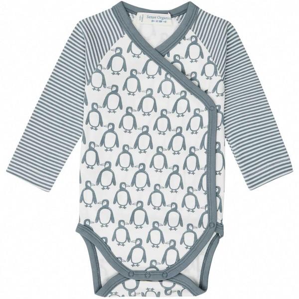 Wickelbody Pinguin-Druck langarm blau