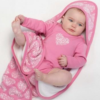 Wendedecke / Babydecke Kapuze Herz-Motiv rosa