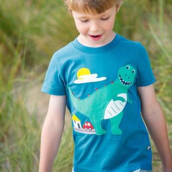 T-Shirt Dino Aufnäher blau