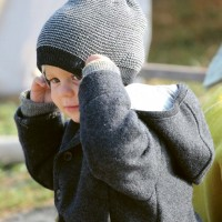 Kinder Beanie Schurwolle in anthrazit