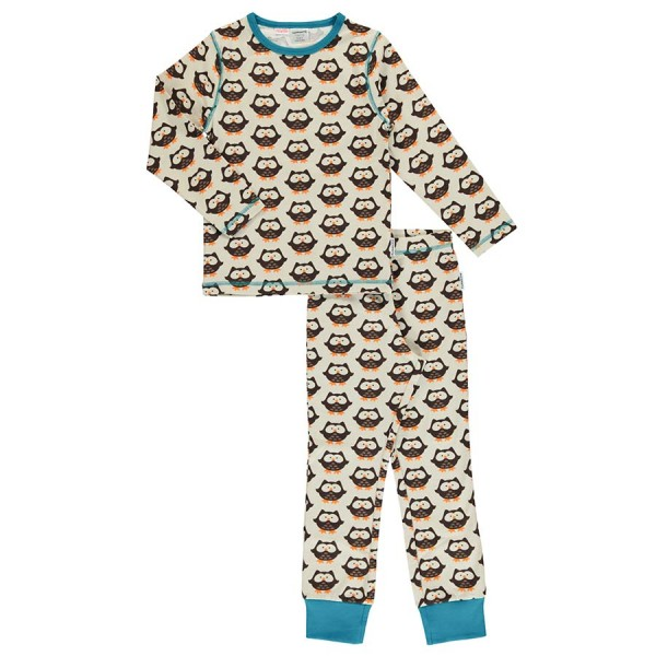 Bio Schlafanzug Eule braun