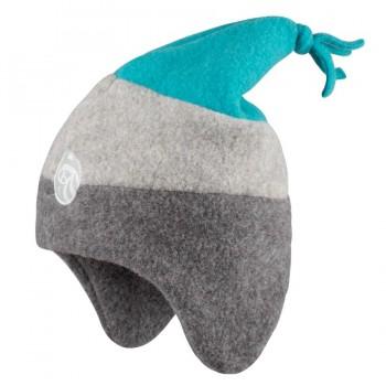 Jungen Fleece Wintermütze grau-blau