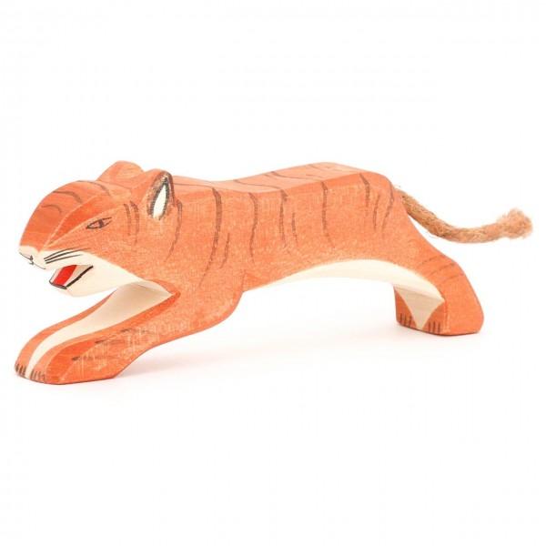 Tiger springend Holzfigur 6,5 cm hoch