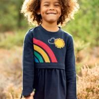 Kleid langarm Regenbogen dunkelblau