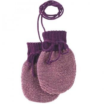Schurwolle Baby lila Strickhandschuhe