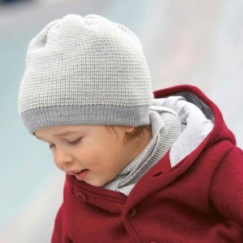 Kinder Beanie Schurwolle in grau