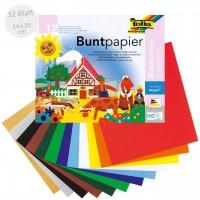 Buntpapier gummiert 12 farbig - 14 x 20cm