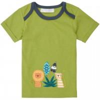 Babyshirt kurzarm grün Löwen-Aufnäher