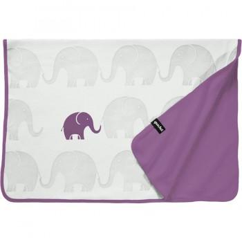 Bio Babydecke Elefanten-Familie lavendel