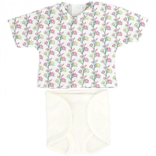 Puppenkleidung: Windelhose und T-Shirt (blumig)