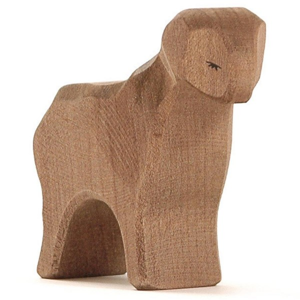Schaf braun handbemalt Holzfigur 8 cm hoch