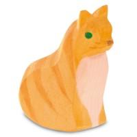 Katze sitzend und schaukelnd Holzfigur 5,7 cm hoch