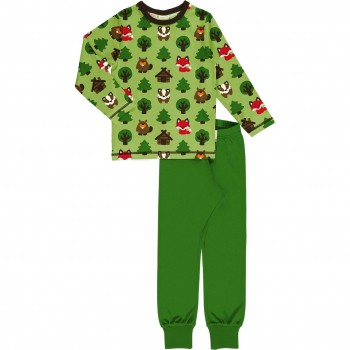 Wald Tiere Schlafanzug langarm grasgrün