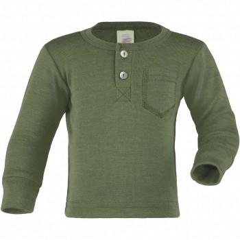 Wolle Seide Langarmshirt Knopfleiste oliv-grün