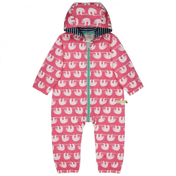 Ungefütterter leichter Baby Overall Faultiere pink