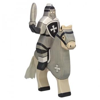 Holzritter mit Pferd grau schwarz