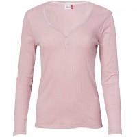 Damen Pointelle Henley Langarmshirt in rosé