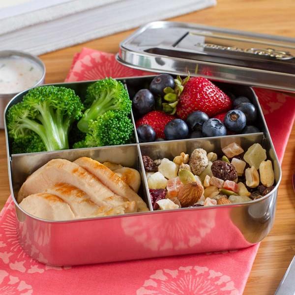 Snackbox Edelstahl 4 Fächer Classic Quad 15 x 12 x 4,5 cm