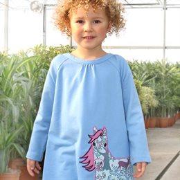 Warmes Kleid robust Pferde Aufnäher pastellblau