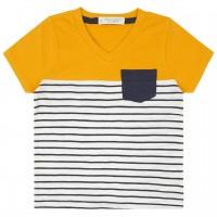 T-Shirt in gelb mit Brusttasche navy Streifen
