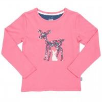 Langarmshirt mit Reh und Häschen in rosa