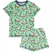 Kurzer Sommer Schlafanzug Lemuren grün