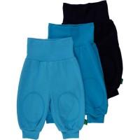 Bio Krabbelhose 3er Pack - soft - Aqua navy blau