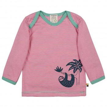Leichtes Ringel Shirt langarm pink Tiermotiv