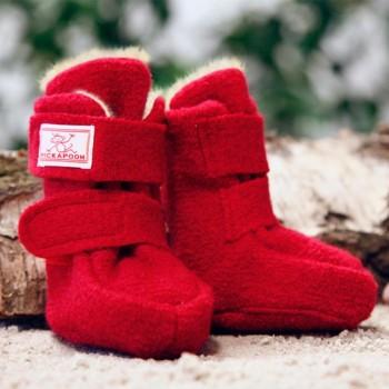 Gefütterte Hüttenschuhe mit Klettverschluss rot