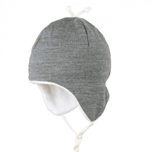 Plüschige warme Mütze Winter grau