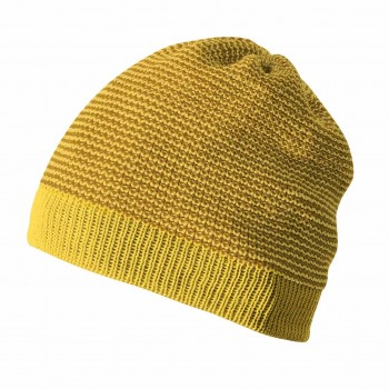 Kinder Beanie Schurwolle in curry-gold