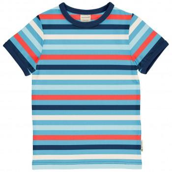 Leichtes Ringel Shirt kurzarm blau