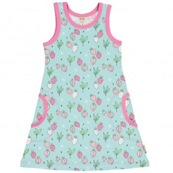 Sommerliches Kleid ohne Arm Erdbeeren in mint