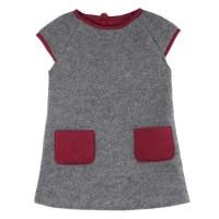 Mädchenkleid warmer dicker Woll-Fleece grau