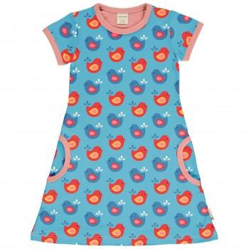 Kleid Vögelchen blau kurzarm