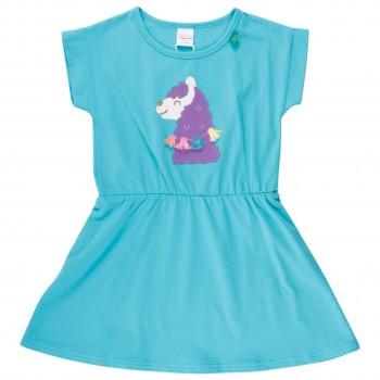 Kleidchen kurzarm Lama Bommeln hellblau