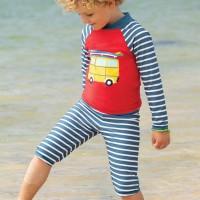 Badeanzug Shirt mit Bermuda Camper rot