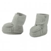 Warme Babyschuhe Klettverschluss Schurwolle grau