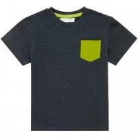 Leichtes Kurzarmshirt grüne Brusttasche in navy