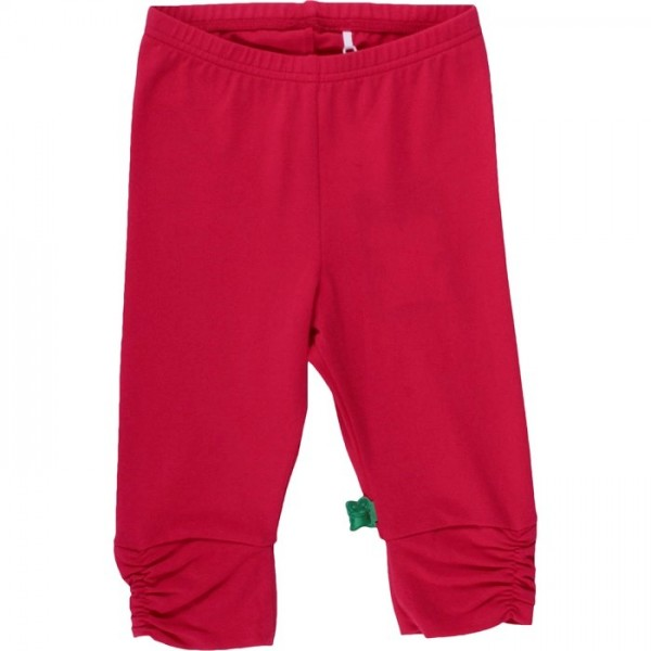 3/4 Kinder Leggings - schicke Raffung am Knie - rot