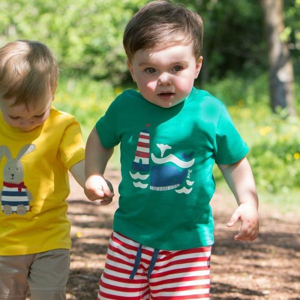 T-Shirt mit Druckknöpfen Leuchtturm - grün