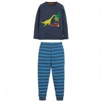 Navy Schlafanzug mit Dino Aufnäher