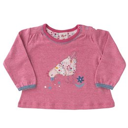 Langarm Shirt pink Hühnchen Aufnäher