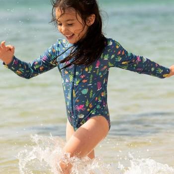 Mädchen Bade- Strandanzug langarm Riff