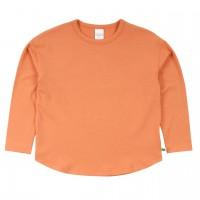 Lockeres Basic Langarmshirt in hellem apricot-orange