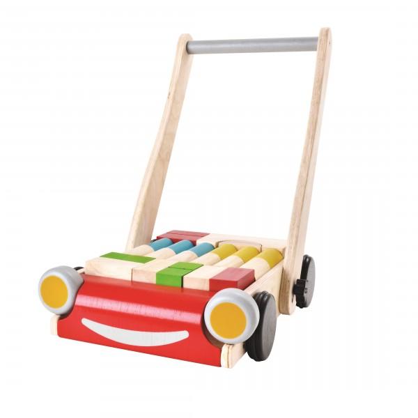 Verstellbarer Lauflernwagen mit Bremse und Bauklötzen