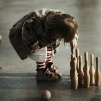 Vintage Bowling Set für Kinder natur